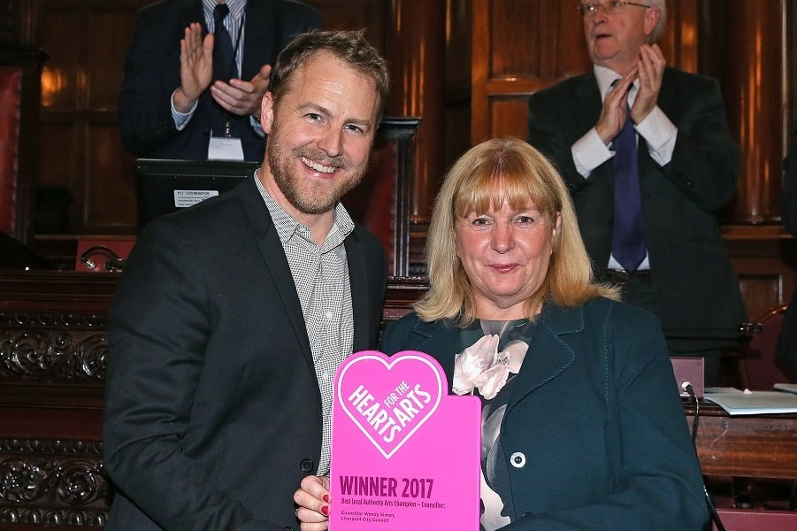 Samuel West and 2017 Hearts For The Arts Winner Councillor Wendy Simon