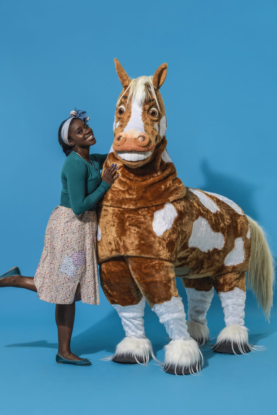 Aisha Jawando and Clapton the Horse in Hackney Empire's Cinderella 2017 (Photo: Perou)