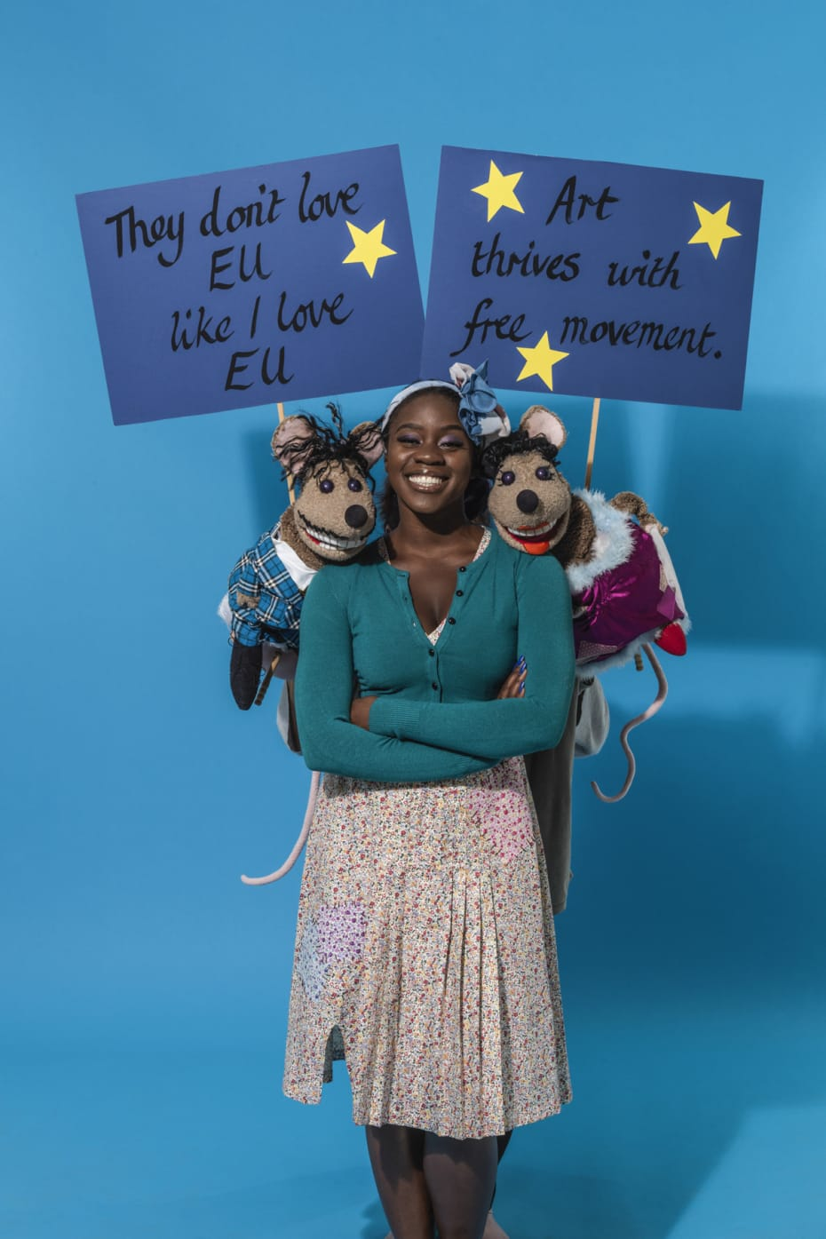 Aisha Jawando, Duchess The Mouse and Duke The Mouse in Hackney Empire's Cinderella 2017 (Photo: Perou)