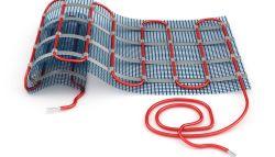 Elektrische vloerverwarming mat met rode kabel