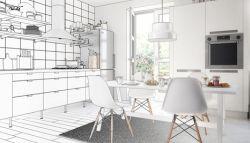 witte moderne keuken met apparatuur