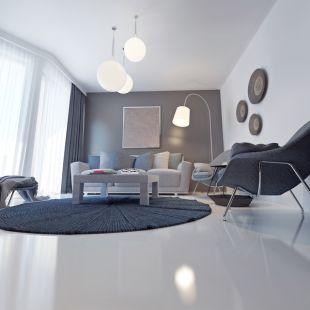Huiskamer met een gietvloer