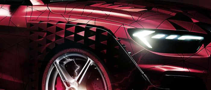 Seitenansicht Auto mit dunkelrotem Lack
