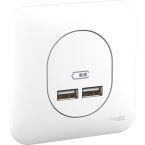 Double chargeur USB2.1 blanc photo du produit