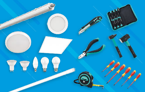 outils Trade Force et luminaire Lit By Cardi