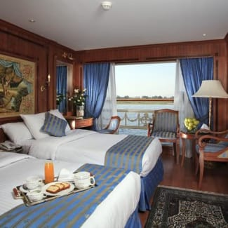 A double cabin with a view of the Nile.