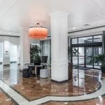 Hotel entrance with brown tile
