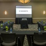 Meeting room with large table and projector