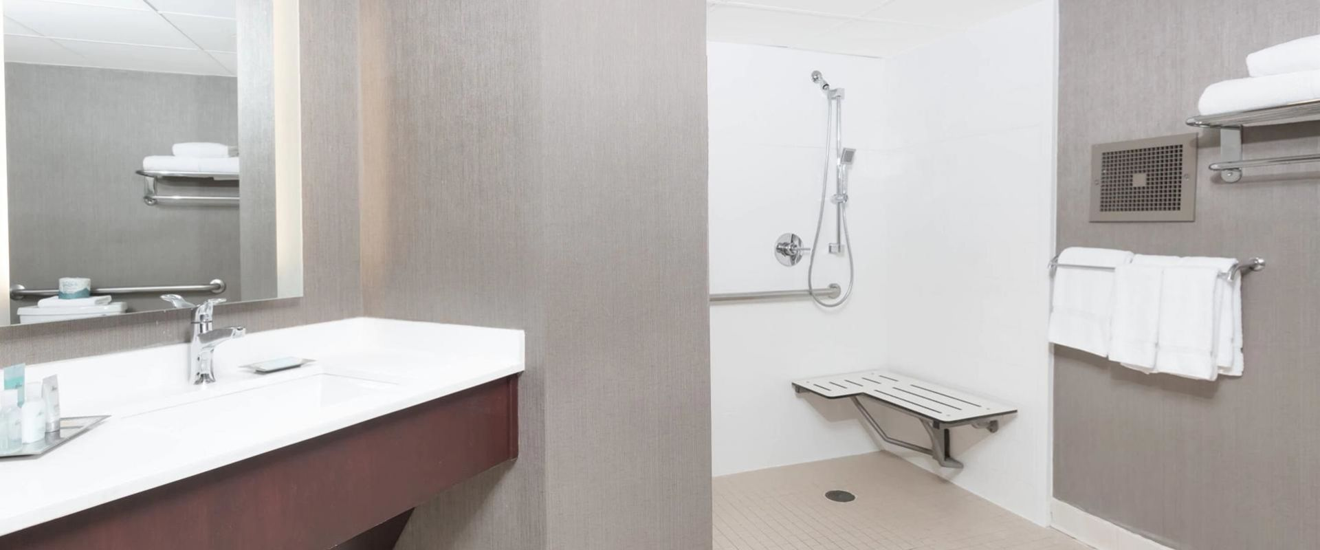 Bathroom vanity and accessible roll-in shower