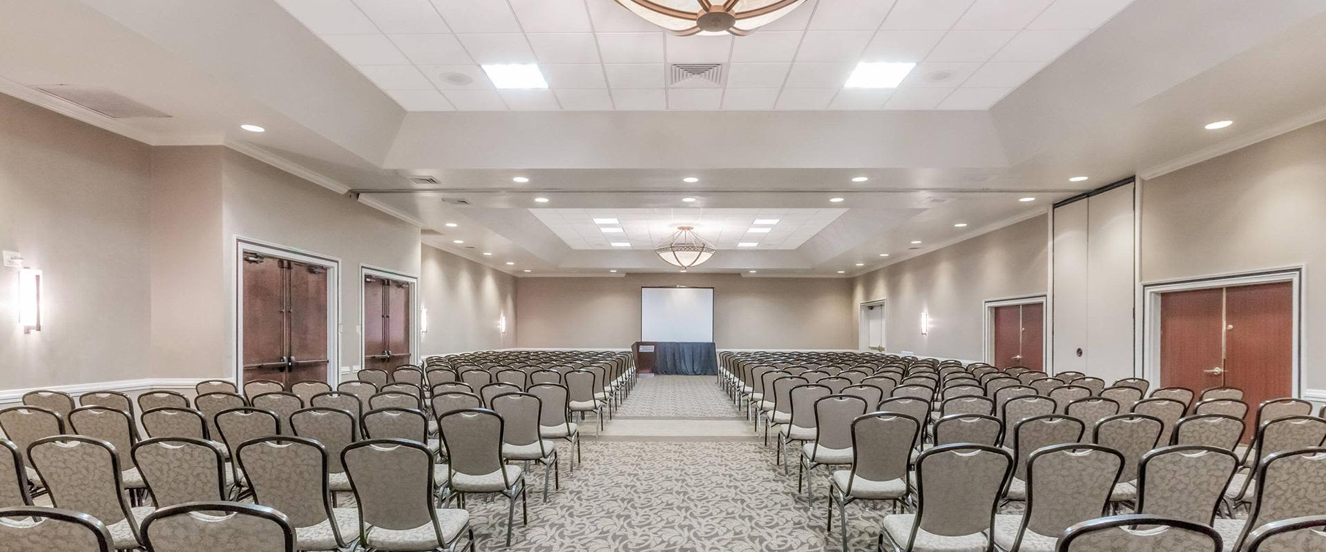 Large conference room with rows of chairs