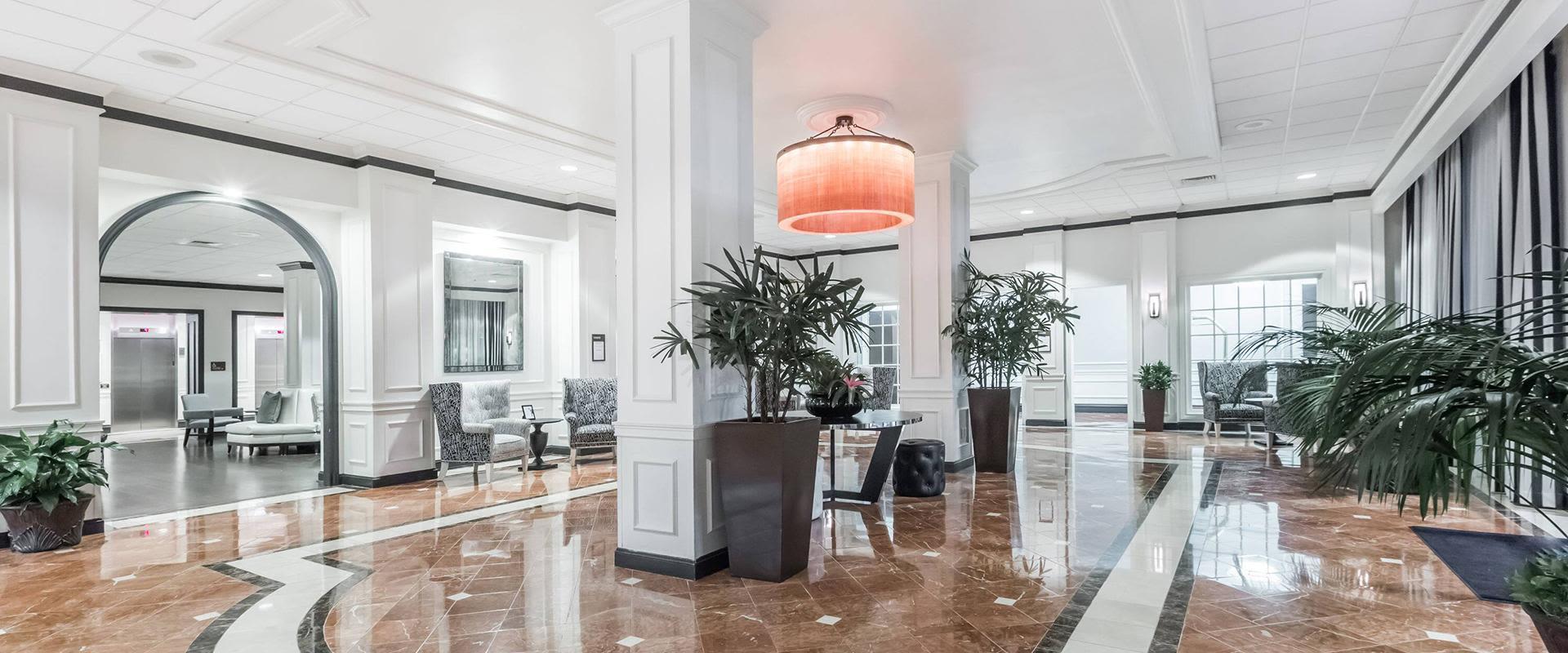 Modern hotel entrance and lobby