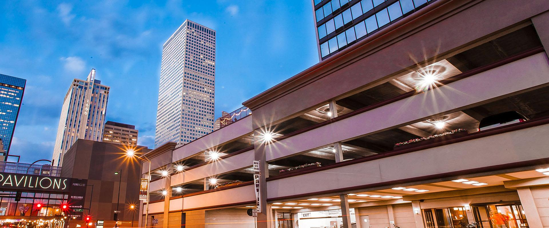 Denver Parking Above Hotel Entrance