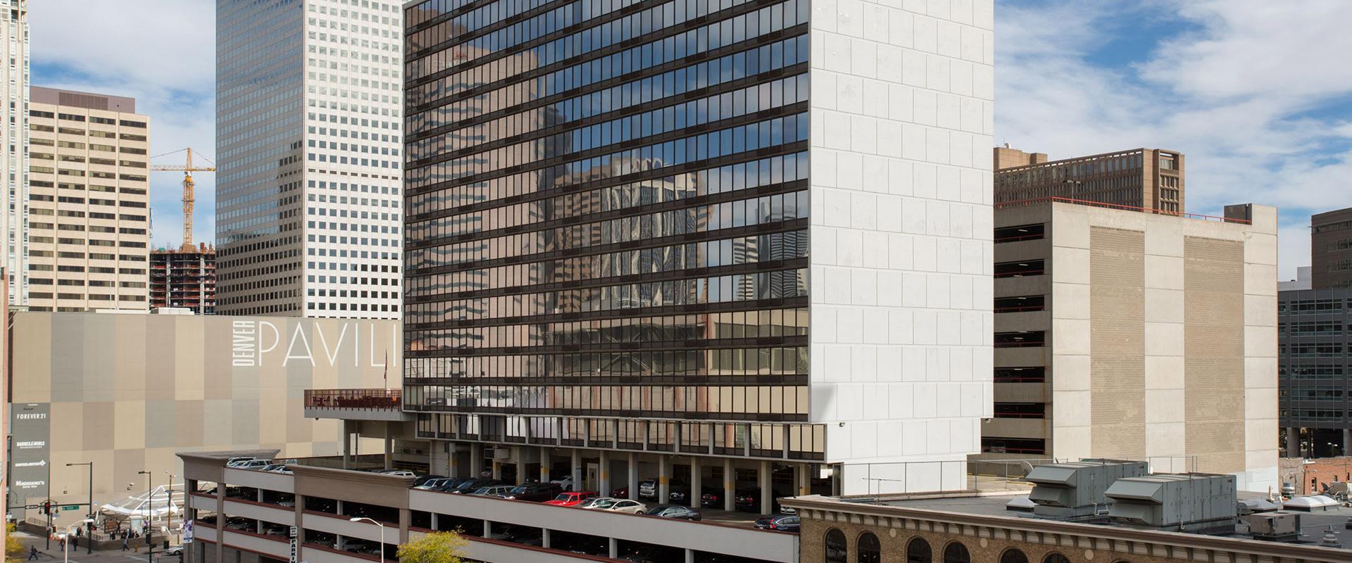 Denver Hotel Exterior With Skyscrapers