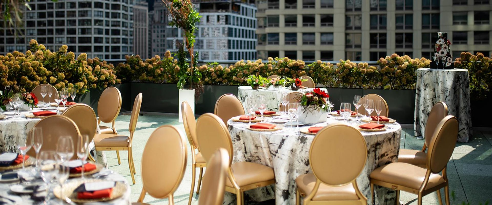 Chicago River North Rooftop Terrace Wedding