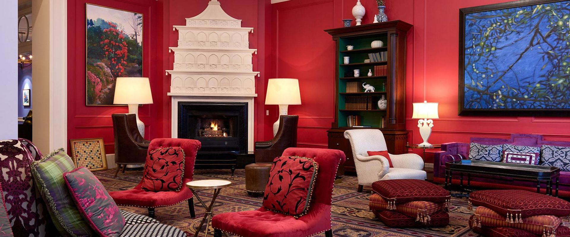 Downtown Portland Lobby Seating and Fireplace
