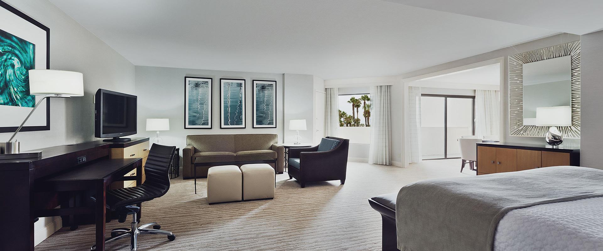 Redondo Beach Junior Suite Living Room and Bedroom