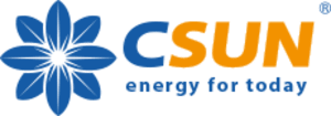 Logo of the solar company CSUN, all major brands such as Jinko, Trina, Canadian Solar, SMA, Fronius, Huawei and many more can be found on Solartraders