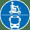 Plakette die zeigt, dass ein Elektromobil im Bus mitnehmbar ist