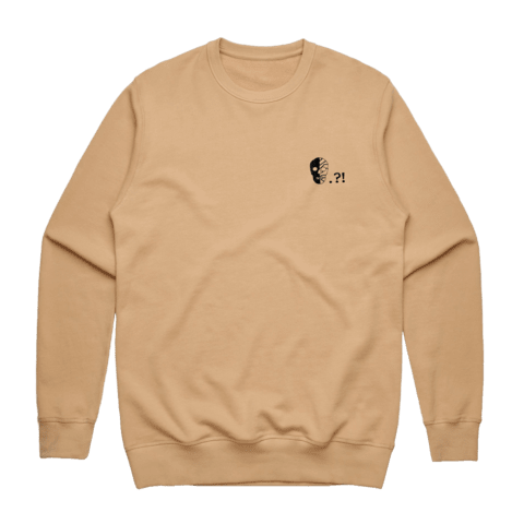 Skull   Men's 100% Cotton Embroidered Sweatshirt in Tan / XXL by Buff Diss