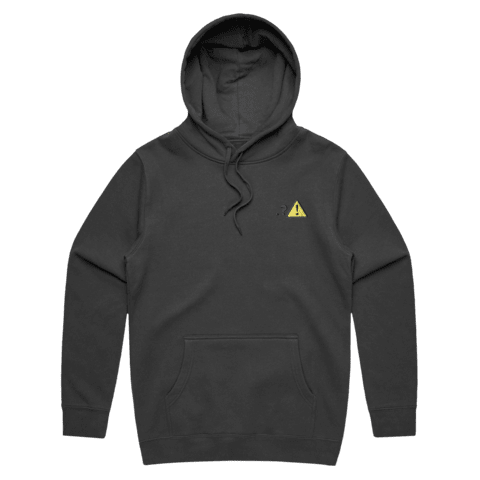 Caution   Unisex Fleece Embroidered Hoodie in Graphite / XXL by Michael Pederson