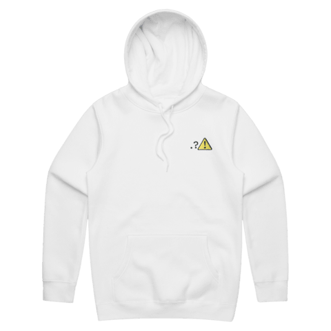 Caution   Unisex Fleece Embroidered Hoodie in White / XXL by Michael Pederson