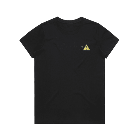 Caution   Women's 100% Organic Cotton Embroidered T-shirt in Black / XXL by Michael Pederson