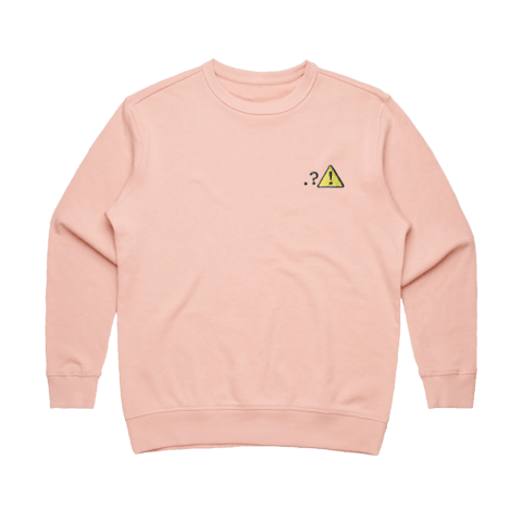 Caution   Women's 100% Cotton Embroidered Sweatshirt in Pale Pink / XL by Michael Pederson
