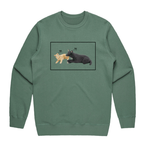 Apple & Chibi   Men's 100% Cotton Minimal Sweatshirt in Sage / XXL by erinswindow