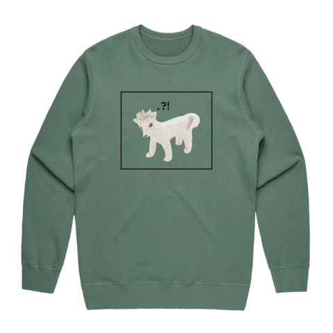 Dog With A Crown   Men's 100% Cotton Minimal Sweatshirt in Sage / XXL by erinswindow