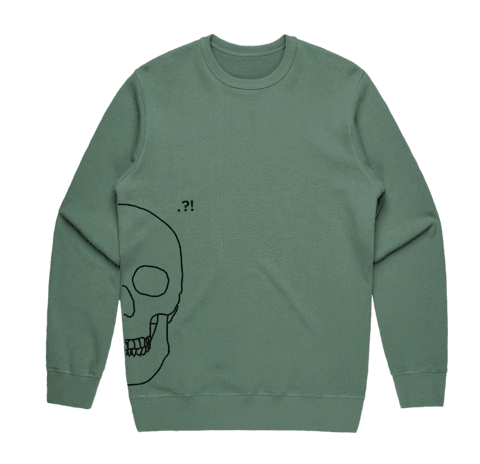 Skull   Men's 100% Cotton Minimal Sweatshirt in Sage / XXL by Buff Diss