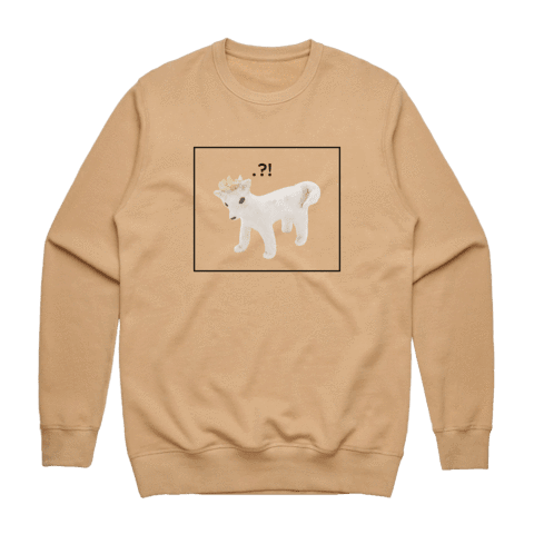 Dog With A Crown   Men's 100% Cotton Minimal Sweatshirt in Tan / XXL by erinswindow