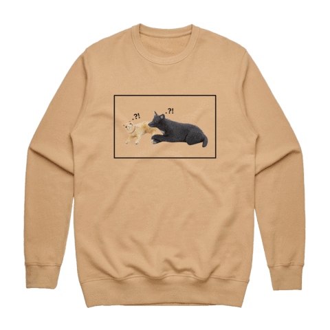 Apple & Chibi   Men's 100% Cotton Minimal Sweatshirt in Tan / XXL by erinswindow