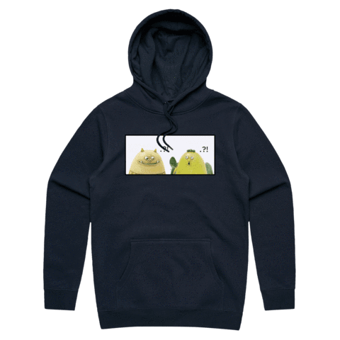Miiya And Hooya   Unisex Minimal Fleece Hoodie in Navy / XXL by Enpei Ito