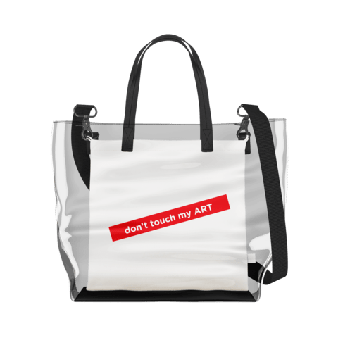 don't touch my ART   Clear Tote Bag in Clear / Cream by So Project™