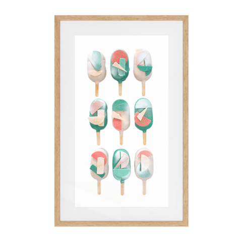Cake Popsicle 04   Solid Wood Framed Art Print in Natural Frame / 83 X 50 CM by Raymond Tan