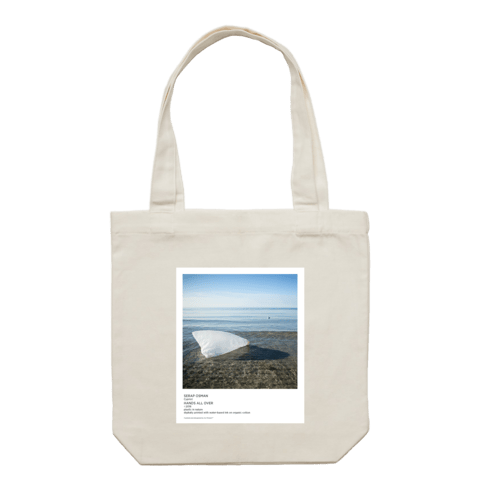 Hands All Over 05   43 X 43 CM Tote Bag in Cream by Serap Osman