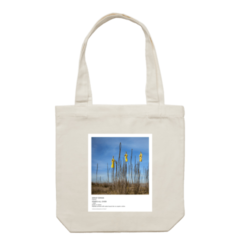 Hands All Over 09   43 X 43 CM Tote Bag in Cream by Serap Osman