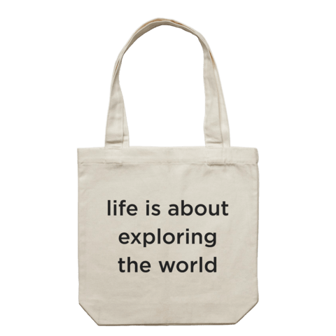 life is about exploring the world   43 X 43 CM Tote Bag in Cream by Serap Osman