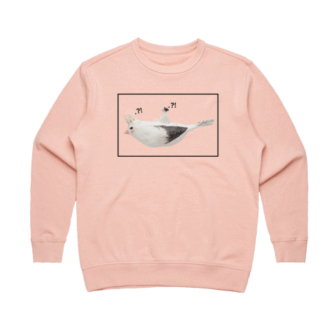 Bird Rider 01   Women's 100% Cotton Minimal Sweatshirt in Pale Pink / XXL by erinswindow