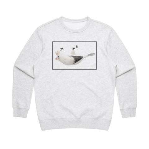Bird Rider 01   Women's 100% Cotton Minimal Sweatshirt in Marble White / XXL by erinswindow