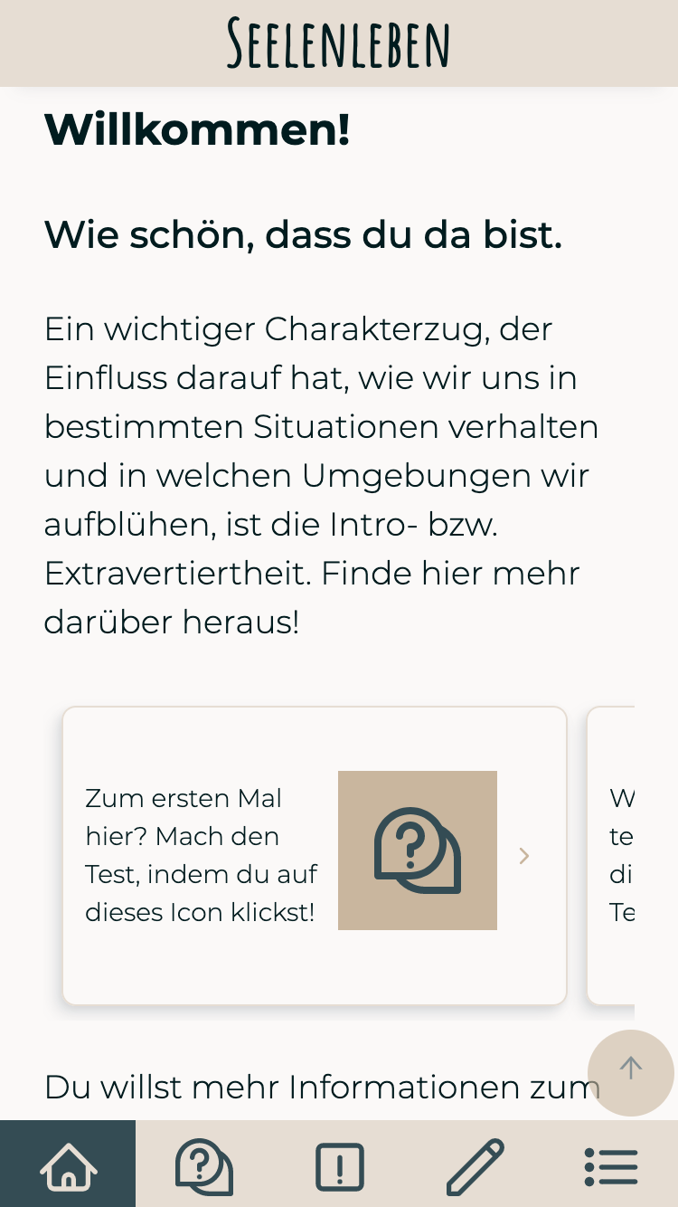 Screenshot of Seelenleben app