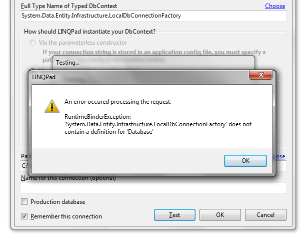 Entity Framework: Type Name of Typed DbContext failing (unable to