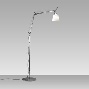 Tolomeo With Shade Floor Parchment (diffuser)aluminum (body & Base)