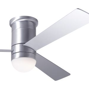 Cirrus Flush DC Brushed Aluminum Finish White Blades