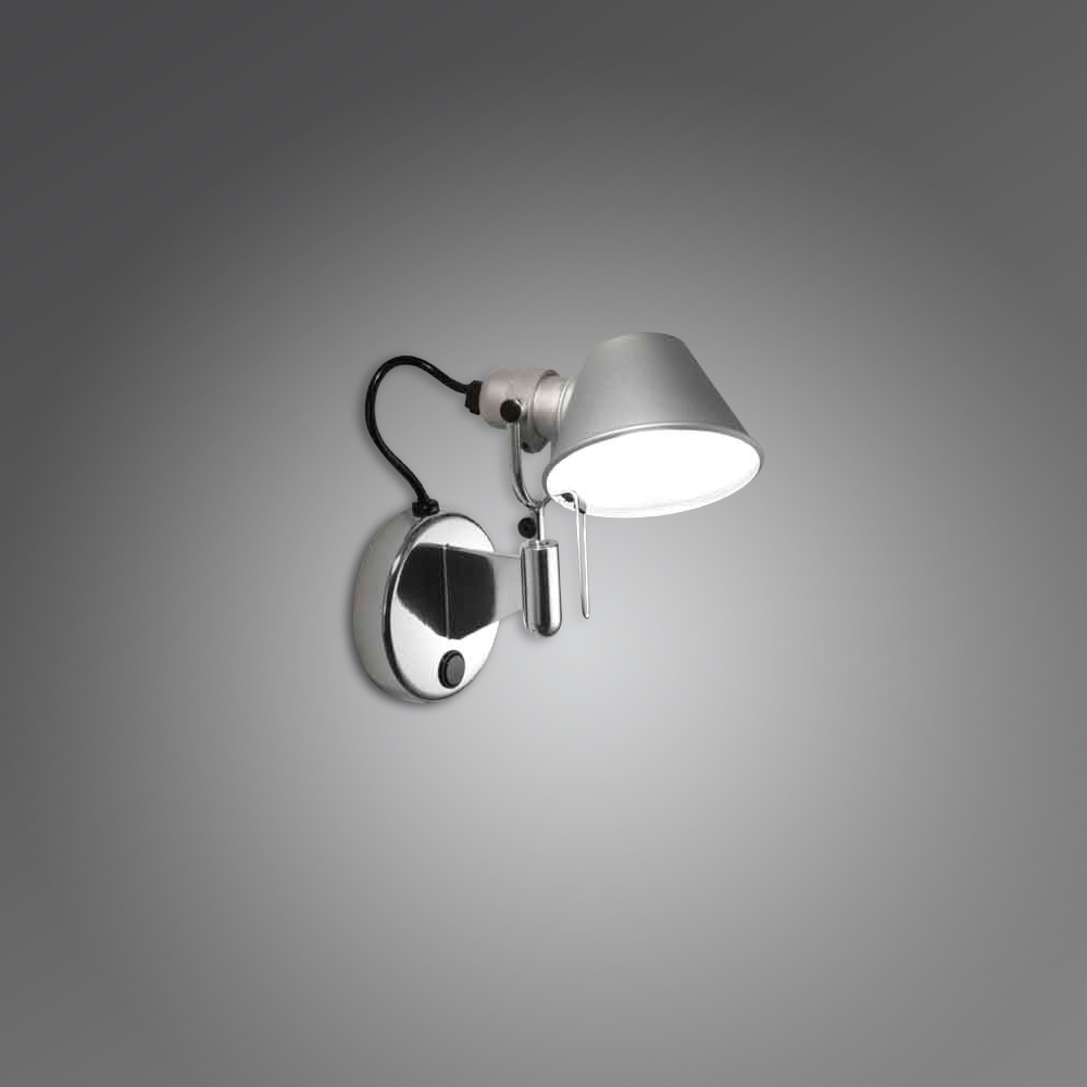 TOLOMEO MICRO WALL SPOT LED 8W 30K ALUM W/DIMMER SWITCH