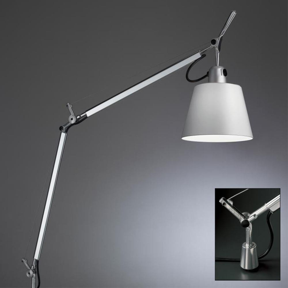 TOLOMEO WITH SHADE MAX 75W E26 ALUM/FIBER W/IN-SET PIVOT