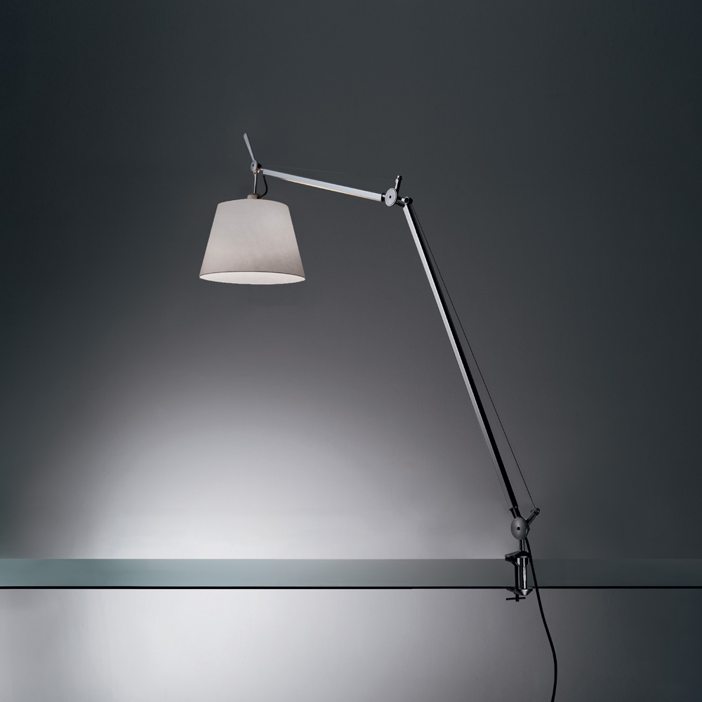 TOLOMEO WITH SHADE MAX 75W E26 ALUM/FIBER W/CLAMP