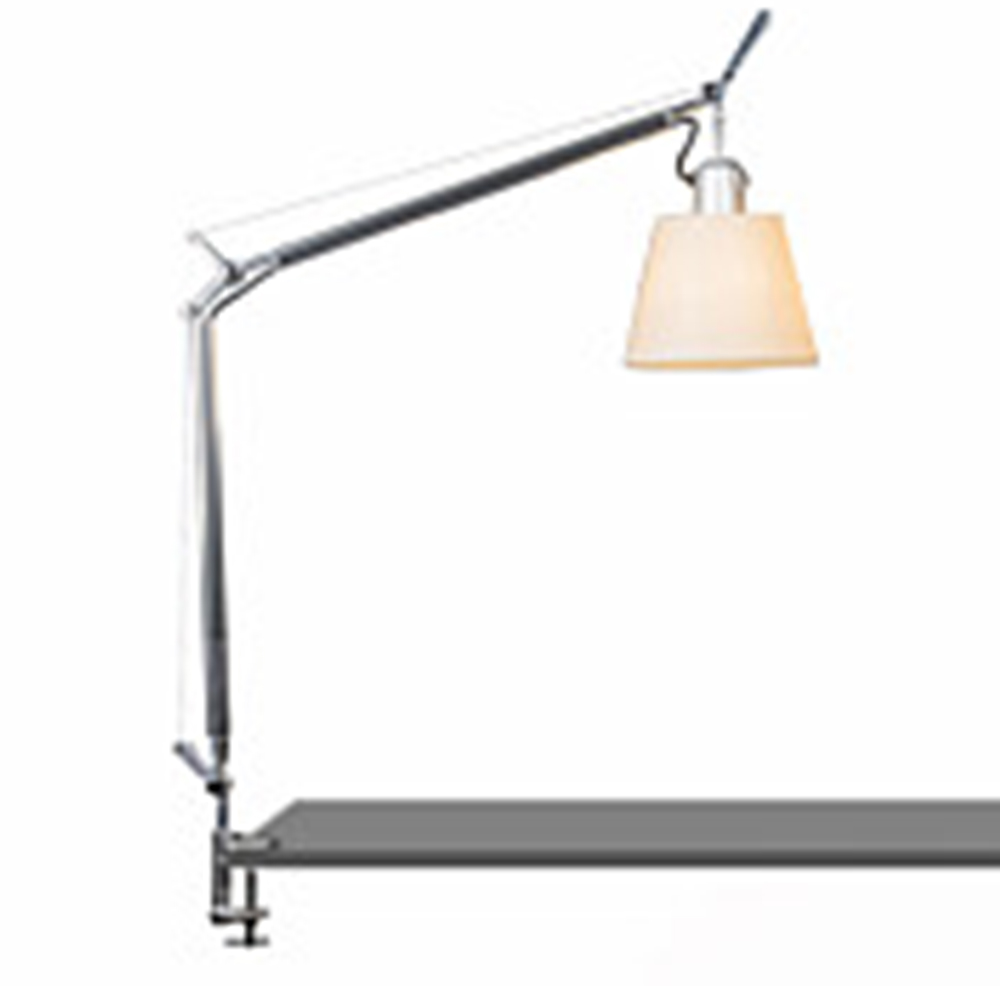 TOLOMEO WITH SHADE MAX 75W E26 ALUM/PARCHMENT W/CLAMP