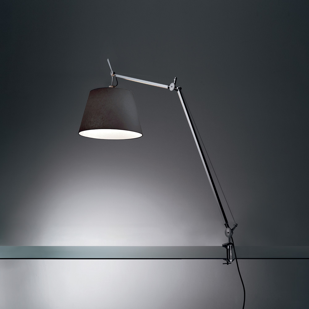 "TOLOMEO MEGA LED 31W 30K MP-MV DIM ALUM W/14"" DIFF BLACK & TABLE CLAMP"