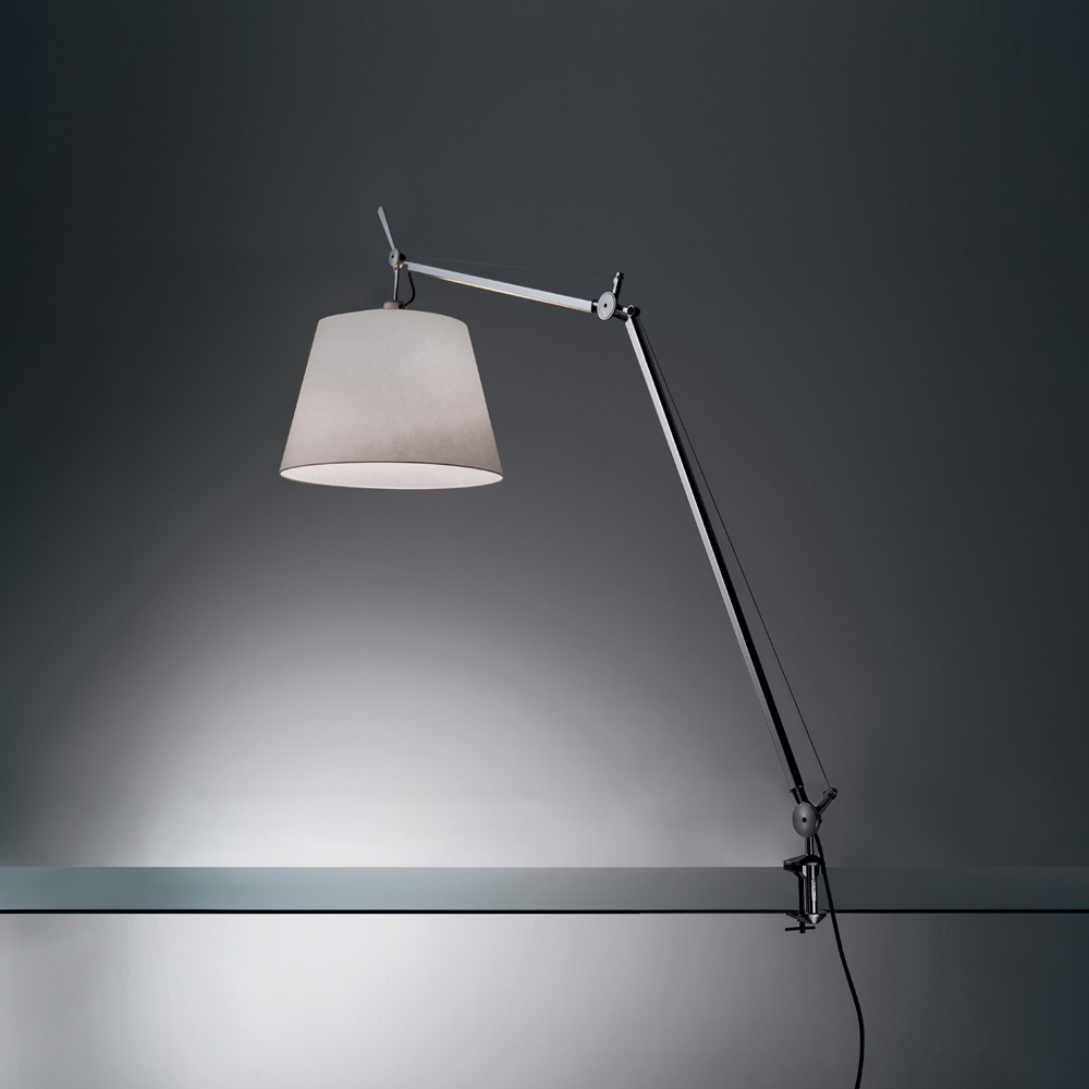 "TOLOMEO MEGA LED 31W 30K MP-MV DIM ALUM W/14"" DIFF FIBER & TABLE CLAMP"